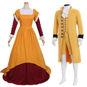 Medieval Mens Yellow Cosplay Costume Suit 18th Century British Suit