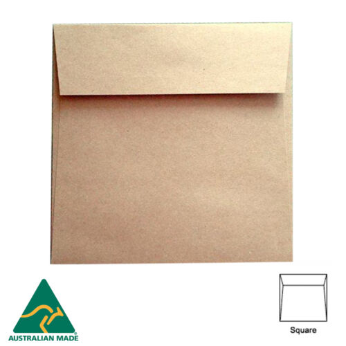 Recycled Brown Kraft 150mm SQUARE ENVELOPES for Wedding Cards and More A Grade