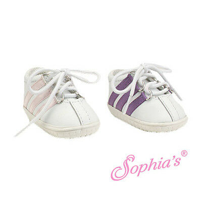 """White Faux Leather Sneaker fit American Girl 18"""" doll shoes sneakers PURPLE"""