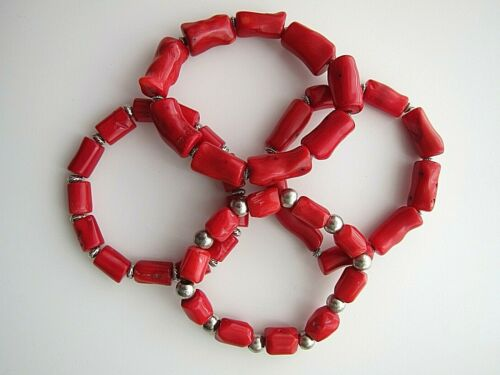 Men/'s \Ladies Chunky Irregular Genuine Red Coral Gemstones Bracelets.