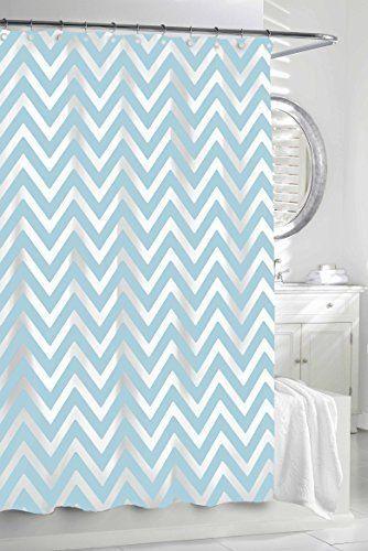 Kassatex Fine Linens Cotton Chevron Shower Curtain Spa Blue White 72x72