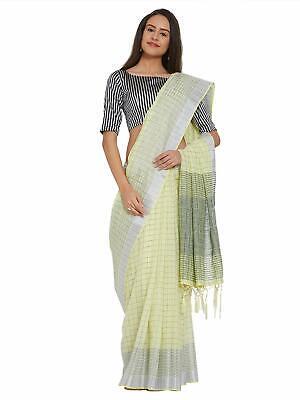 Art Silk Checks Green And Yellow Indian Wedding Bollywood Saree for Women