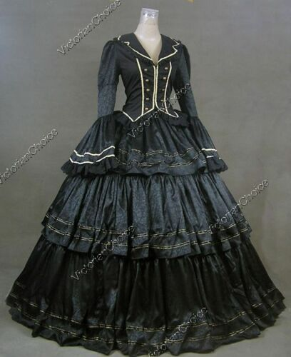 Steampunk Dresses and Costumes Civil War Victorian Black Brocade Gown Dress Witch Women Halloween Costume 188 $169.00 AT vintagedancer.com