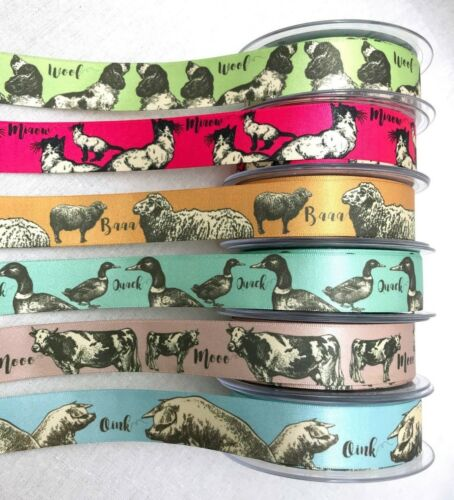 1 Farmyard Animal Ribbon - Berisfords Satin - Dog Cow Duck Seep Pig Cat Country