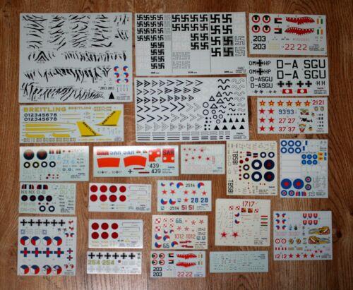 1//72 for KP Tamiya Revell Italeri Hagesawa Lot of 23pcs new decal sheets 1//48