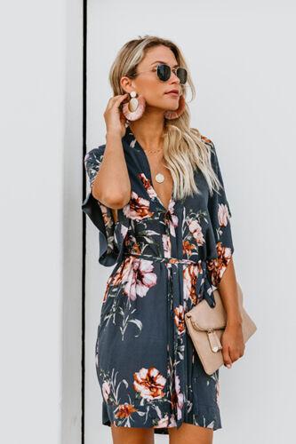 2019 Fashion Women Printed V Neck Short Sleeve Boho Holiday Beach Shirt Dress