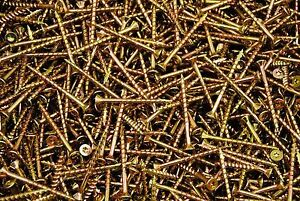 (500) Torx T20 Star Flat Head 8 x 2 Yellow Zinc Type 17 Outdoor Wood Screw