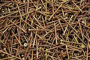 500-Torx-T20-Star-Flat-Head-8-x-2-Yellow-Zinc-Type-17-Outdoor-Wood-Screw