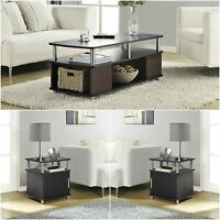 Cherry Black 3 Piece Coffee Table Set Living Room Home Accent Furniture