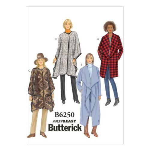 LRG-XLG-XXL Butterick Sewing Pattern 6250 Misses/' Jacket Coat /& Wrap Z