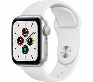 APPLE Watch SE Silver Aluminium with White Sports Band 40mm - Currys