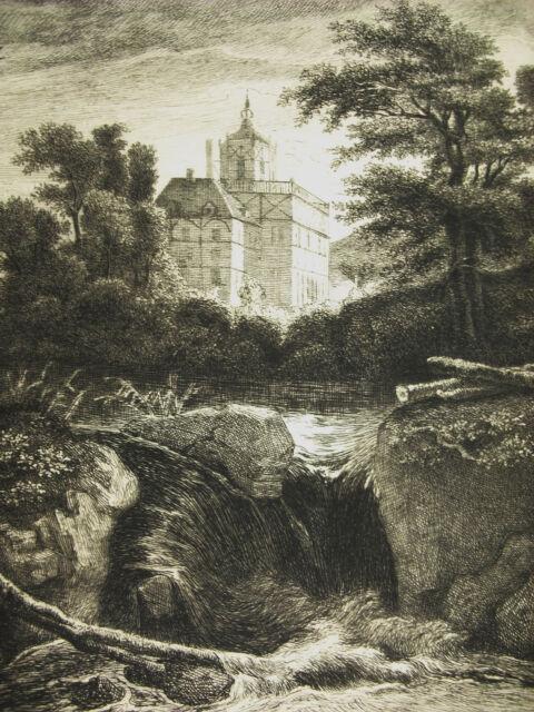 Engraving c1874 The Castle After Jacob Von Ruysdael. Writer: Flameng Castle