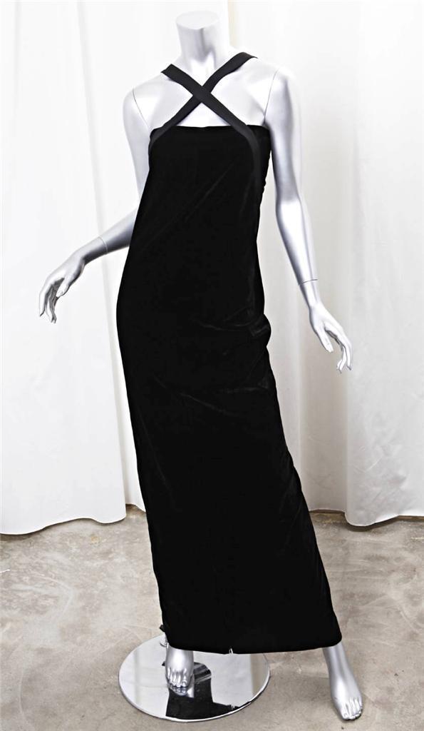 Jean Paul Gaultier Femme Para  Mujer De Terciopelo Negro sin mangas de longitud completa Vestido 8  compras en linea
