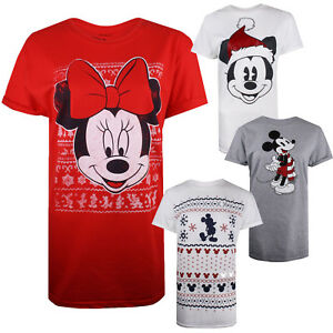 Disney-Christmas-Ladies-T-shirts-Festive-Gift-Sizes-S-M-L-XL