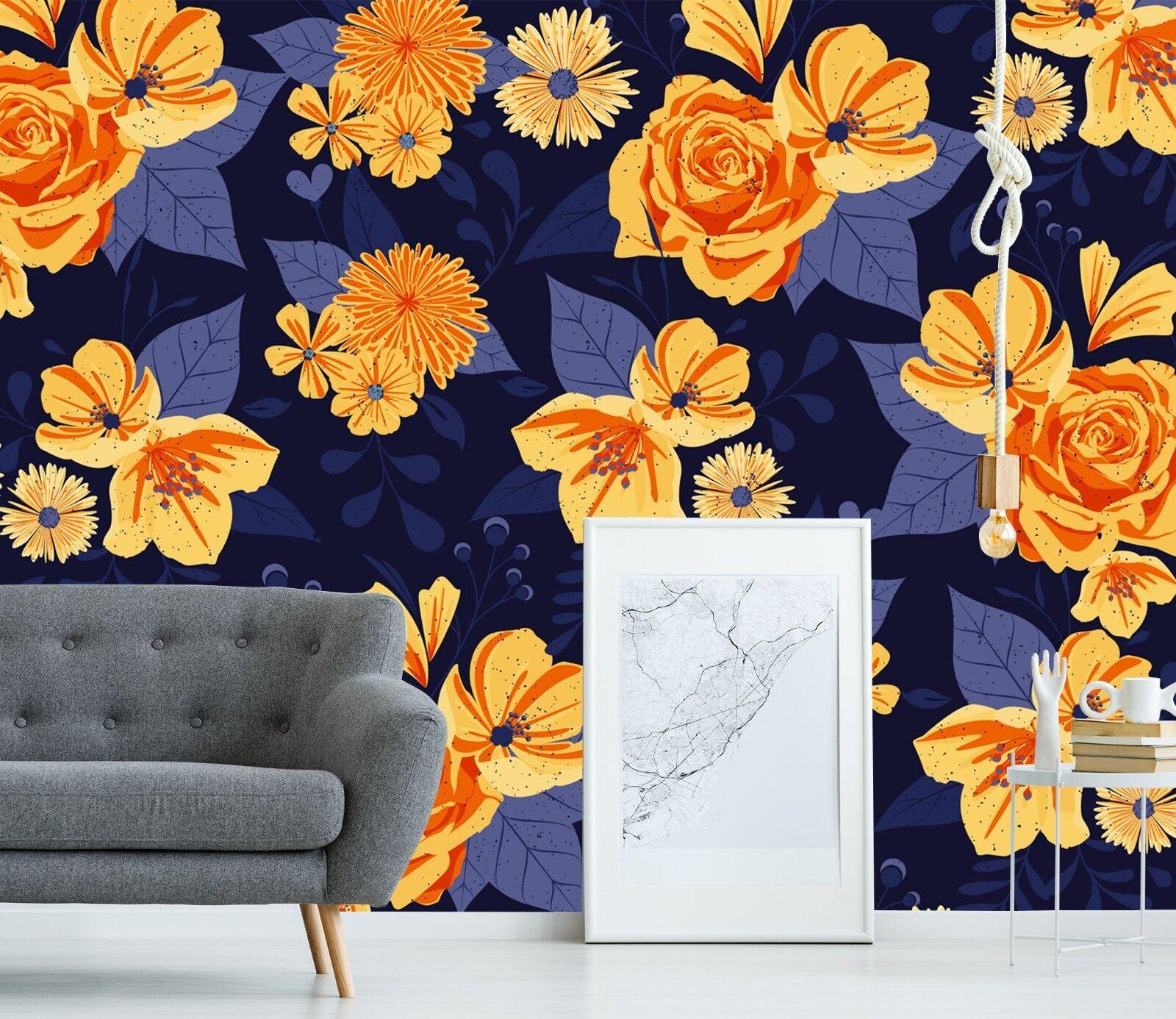 3D Golden Flower 805 Wall Paper Print Wall Decal Deco Indoor Wall Murals US
