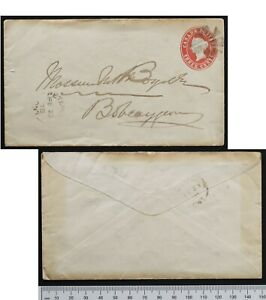 Peterboro Ont 1878 PSE Webb EN5a Stationery envelope fancy cork to Bobcaygeon