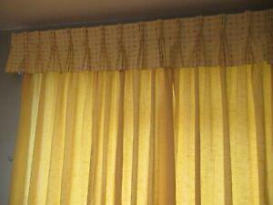 Unlined-dark-yellow-curtains-pelmet-and-tie-backs
