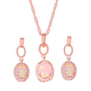 Pink-Opal-CZ-Rose-Gold-Filled-Women-Jewelry-Pendant-Earrings-Jewelry-Set-OT129