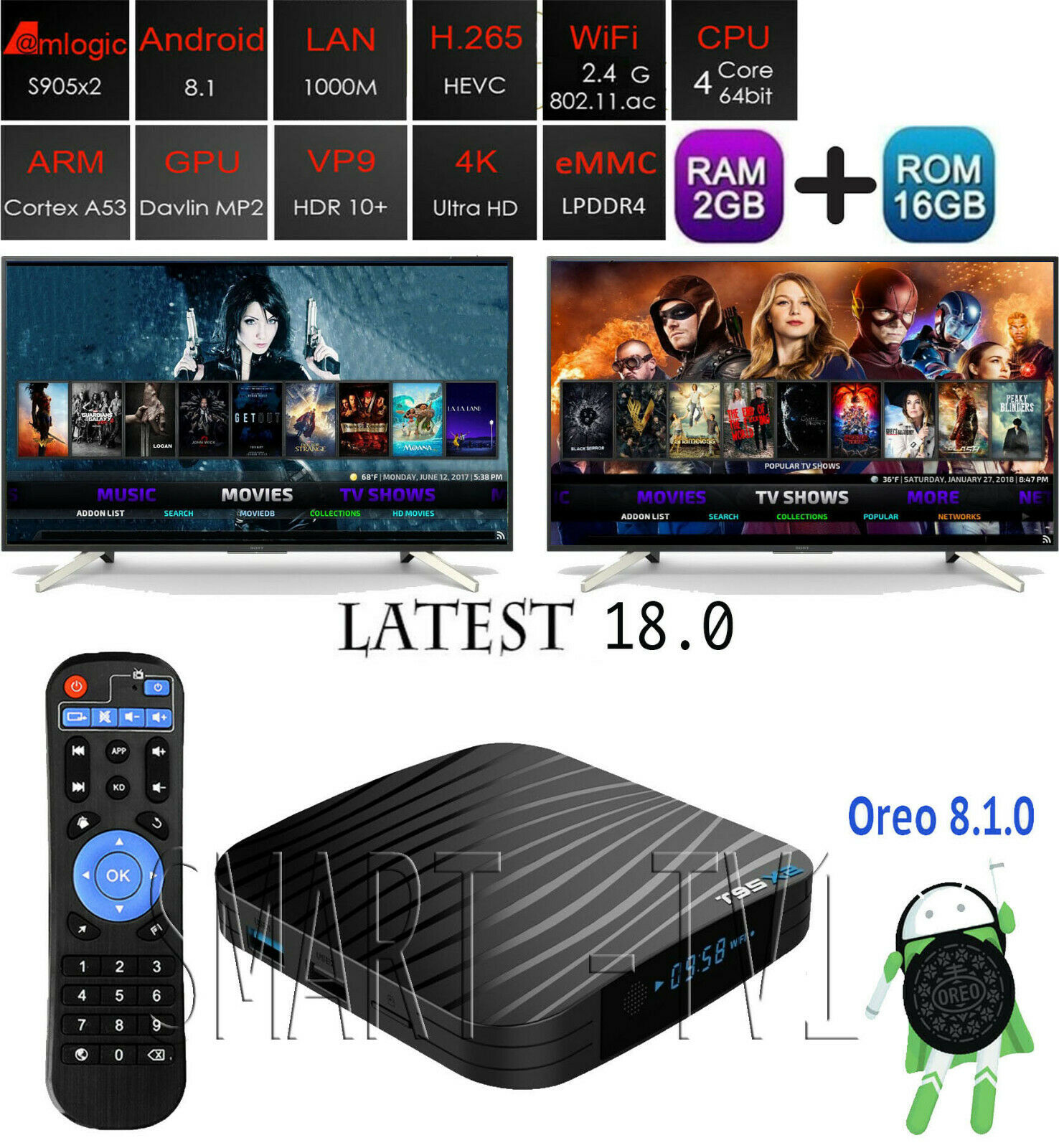 T95X2 4K Android 8.1.0 Oreo WiFi Smart TV Box w  KD 18.0 - 2G+16G   S905X2, T95z