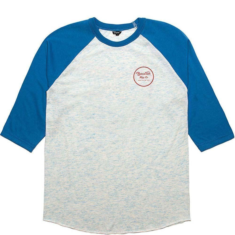 Brixton Wheeler 3 4 Sleeve Baseball T-Shirt blue