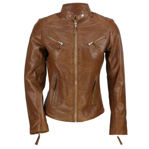 5XL Ladies Women's Real Leather Vintage Fitted Tan Brown Biker Jacket Size S