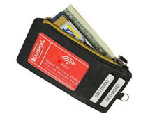 Black RFID Blocking Safe Leather Men Wallet Credit Card ID Badge Neck Strap