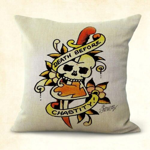 pillow cover Sailor Jerry death before chastity skull dagger