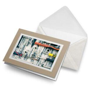 Greetings-Card-Biege-Tool-Box-Mechanic-Trade-Engineer-Mens-24314