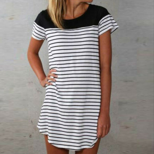 di del La delle dalla maglietta da asimmetrica vestiti a superiore bianco dalla donne estate allentata splicing maglietta spiaggia strisce dei veste vestito rBrP0pnUxq