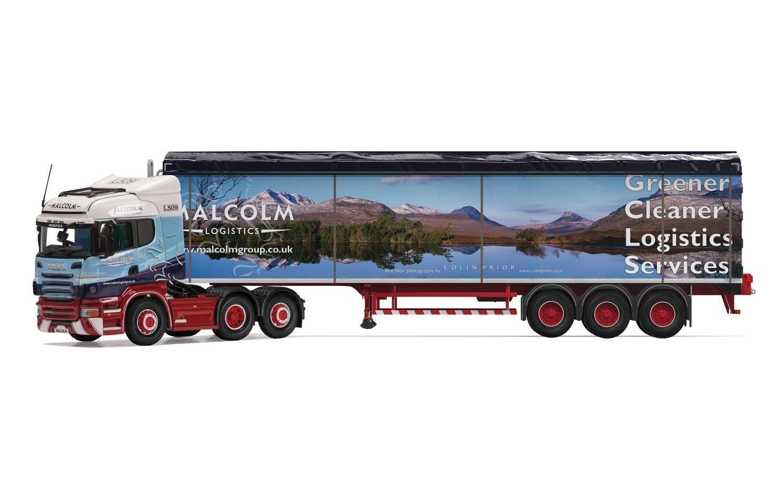 Corgi cc13786, scania r highline zu boden trailer, malcolm logistik, 1  50