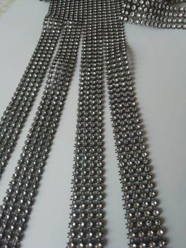 0,5m Strass Band Borte Nichtelastisch Spitze Schwarz Silber 2cm Breit Cg
