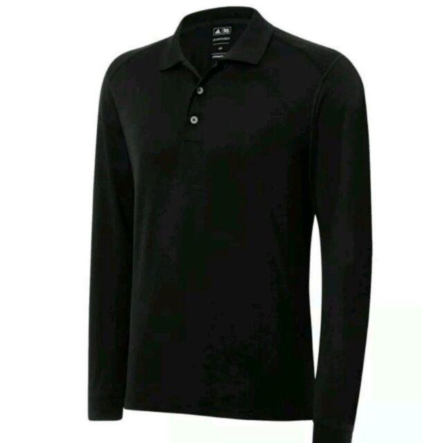 8ea21712 adidas Mens Black Puremotion Long Sleeve Pique Golf Polo Shirt XL ...