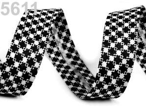 3m 14 mm br. Schrägband Baumwollschrägband Einfaßband vichy pepita schwarz weiß