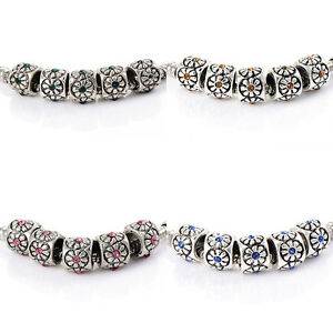 10pcs crystal european Charm Flower Beads charms Fit Bracelet DIY silver plated