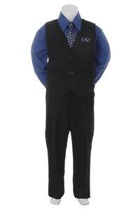 Victoria Blue Formal Boys Pinstripe Vest Suit Set Infant Toddler Big Boy Sizes