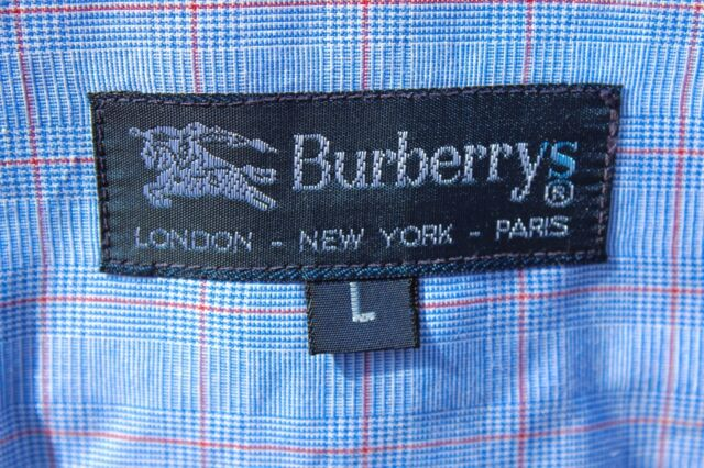 Burberrys L (16.5/36) Gent's Blue Check Cotton Long-Sleeved Shirt- USA - $325.00