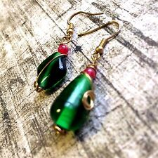 Antique Asymmetric Colored Glaze Earrings.....By DearJade Natural Products