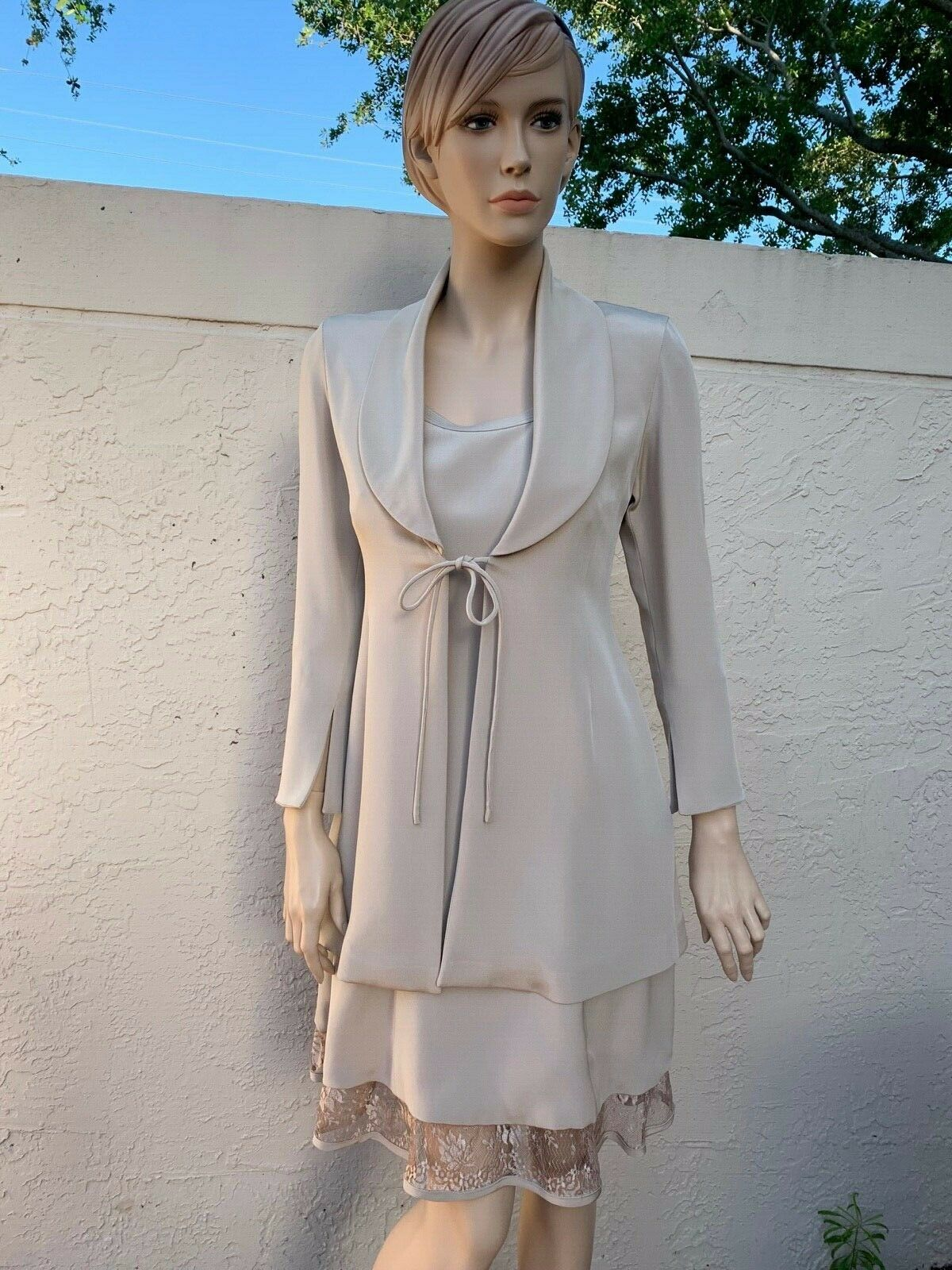 RENE RUIZ Miami Precioso Vestido y  chaqueta traje de encaje Talla 34  100% autentico