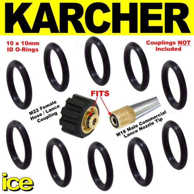 10 Karcher Jet Wash Leaking M22 Hose Nozzle Lance Coupling Spare O Ring Seals