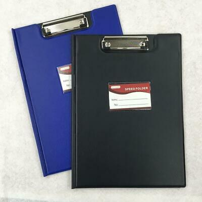 3X A4 Clipboard Solid Fold-Over Board Clip Writing Office Document Holder Black