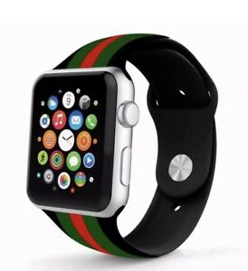 f9647eb4407 Premium GUCCI Silicone Apple Watch Band Red Green Black Style 42mm ...