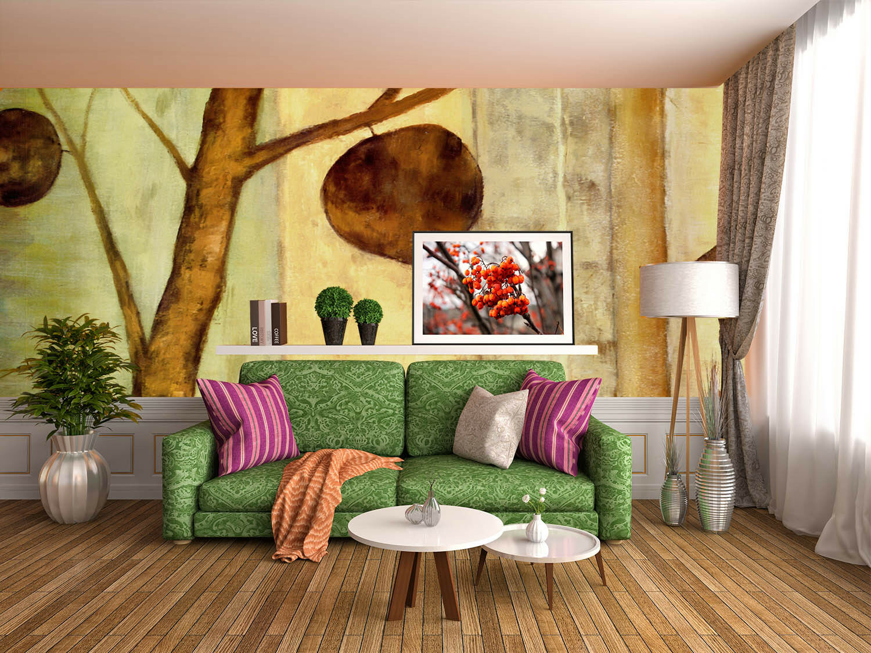 3D Baum - Farben, grey, yellow Fototapeten Wandbild Fototapete BildTapete Familie