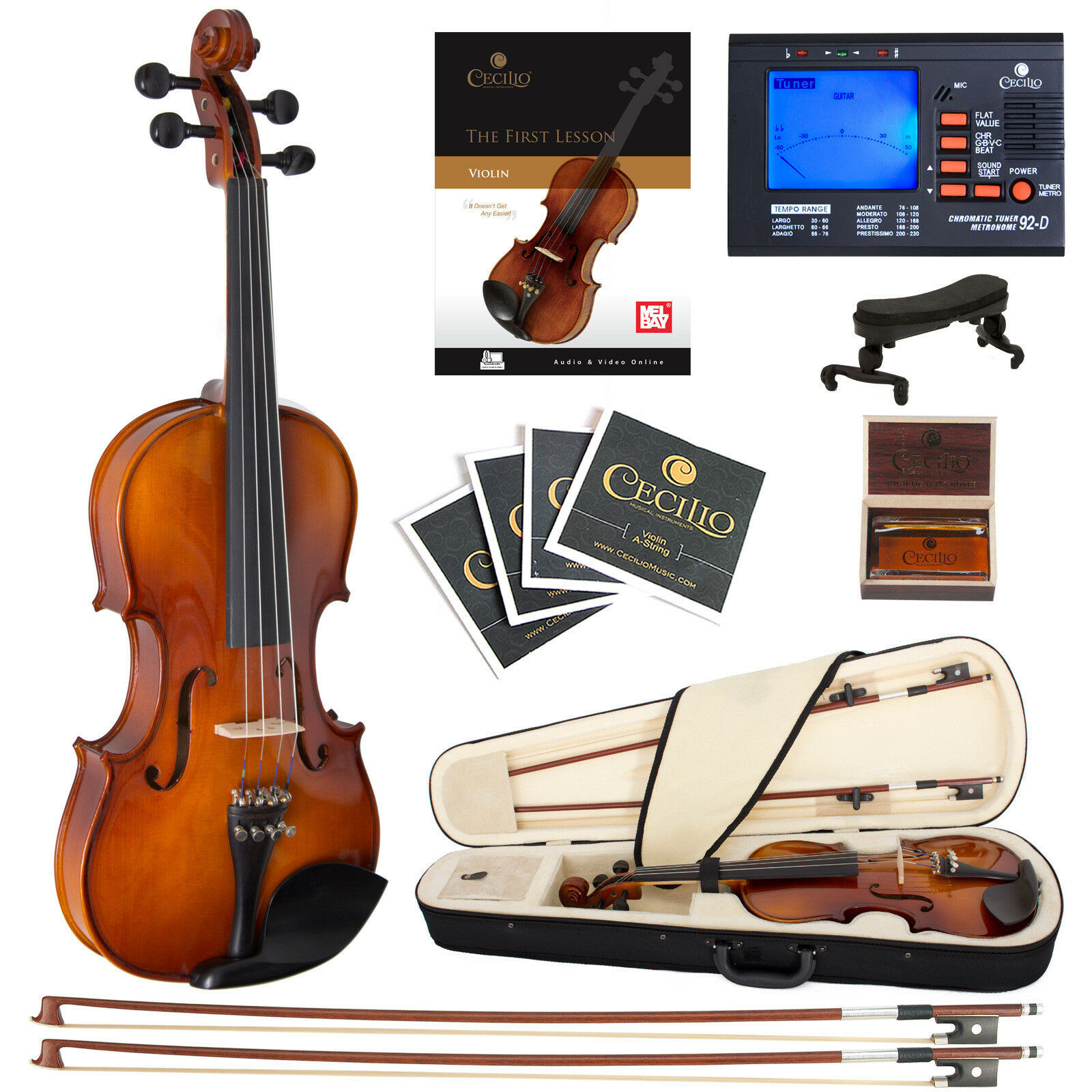 Cecilio 3 4 CVN-320L Left Handed Ebony Violin +Book Video+Tuner+Case