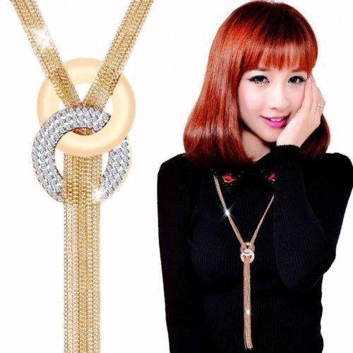 Gold Women Fashion Chain Choker Chunky Statement Bib Necklace Pendant Jewelry