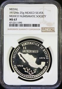 Mexico-25-g-1972-Silver-Medal-SONUMEX-Mexico-Numismatic-Society-NGC-MS67-POP-1