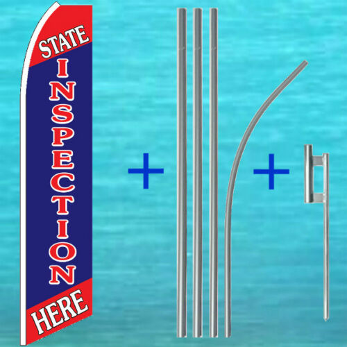 STATE INSPECTION HERE FLUTTER FLAG POLE MOUNT KIT Feather Swooper Banner Sign