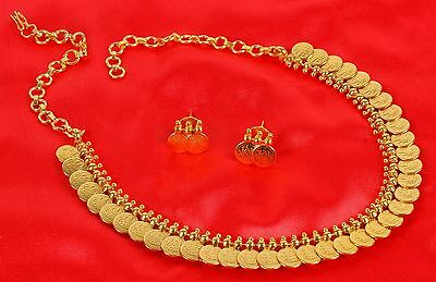 Bollywood Indian Gold Plated Ethnic Bridal Polki Necklace Earrings Set Jewelry