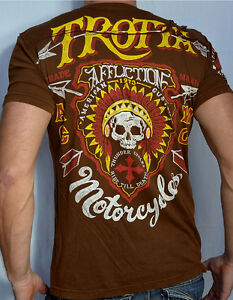 Details about Affliction American Customs - EDDIE TROTTA THUNDER - Men's  Biker T-Shirt - Brown