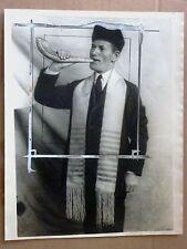 1925 Press Photo RaBBI NAVIASKI shofar HEBREU HORN  ORIGINAL JUDAICA