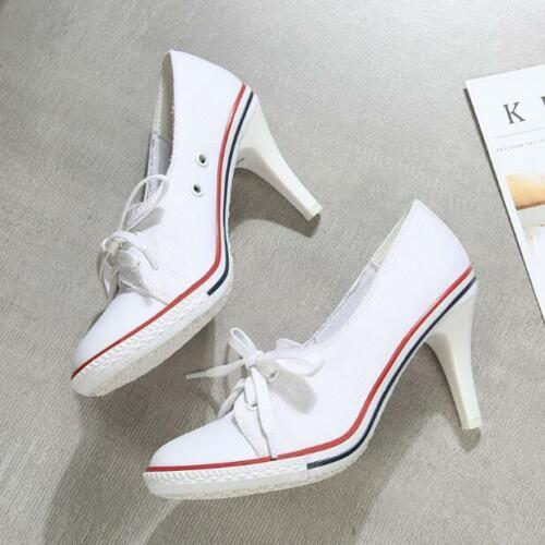 Women Denim Sneaker Slim High Heels Slip On Canvas Pumps Sport Shoes Ske15